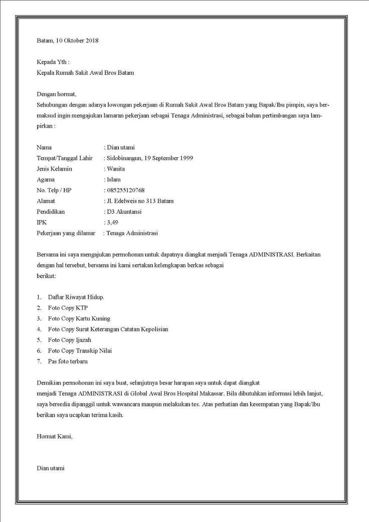 Contoh Surat Lamaran Pekerjaan Rumah Sakit Contoh Lif Co Id