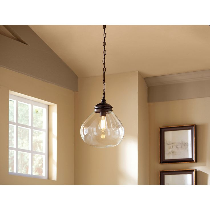 shop allen roth bristow 12in w oil rubbed bronze pendant light with clear