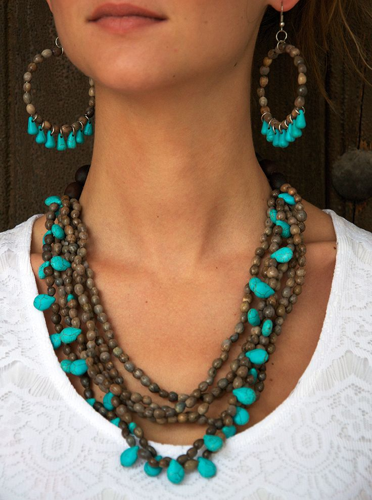 Mary's Tears Seeds and Turquoise Stones Necklace