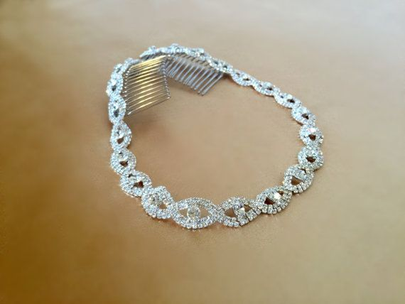 Bridal Headband Wedding Headpiece Rhinestone by FashionaryDesign