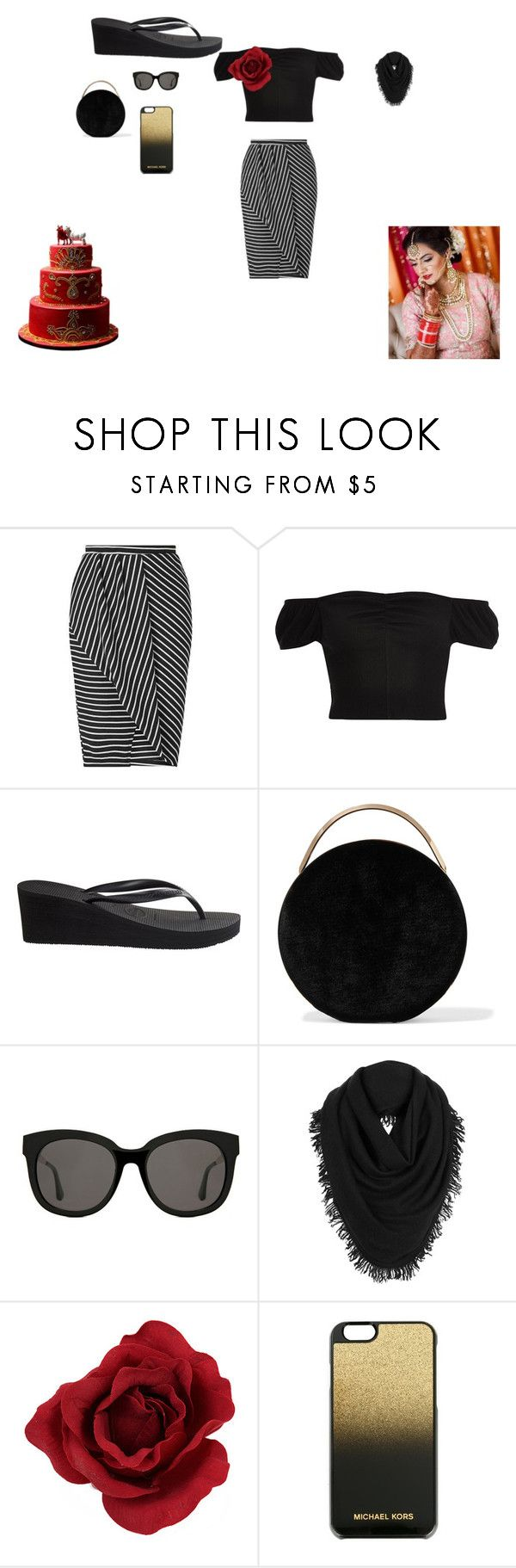 """""""Indian outfit"""" by allison-orth ❤ liked on Polyvore featuring Miss Selfridge, River Island, Havaianas, Eddie Borgo, Gentle Monster, White + Warren and MICHAEL Michael Kors"""