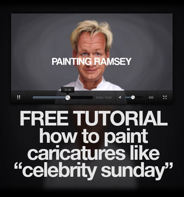 A free tutorial shown in 3 hours of the 8 hour process to create a caricature | caricature | tutorial | free | video | youtube