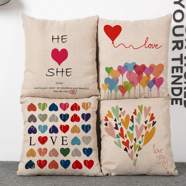 Персонализированные красочные любовь чехлы для Него или Нее Романтическая Годовщина Свадьбы валентина Подарок 45*45 см