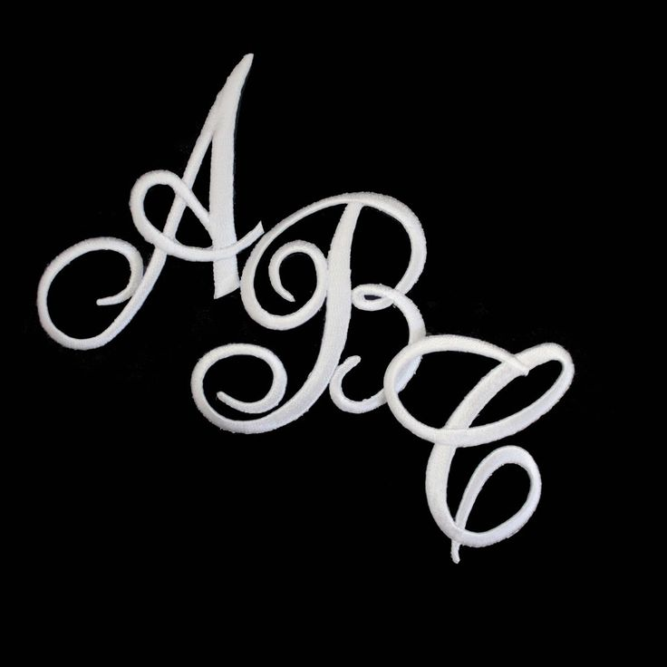 Embroidered Iron On Script Letter Initial Monogram Appliques in White  embroidered cursive script letter patches may be used to personalize your  garments or ...