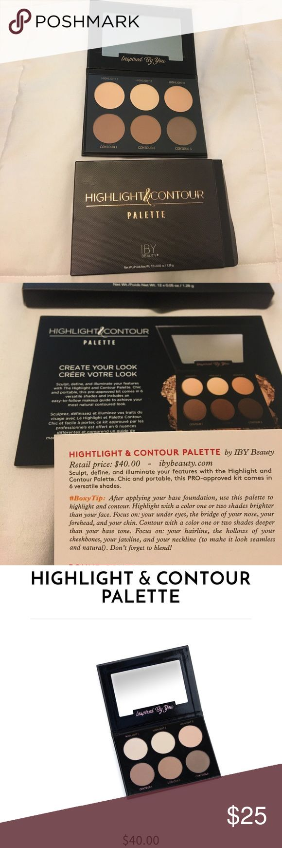 IBY Beauty powder contour & highlight palette Received this in my Boxycharm subscription and I already have some products like this. Retails for $40 and has great reviews, never used or swatched, still has plastic cover, mirror film, and box. IBY Beauty Makeup Face Powder