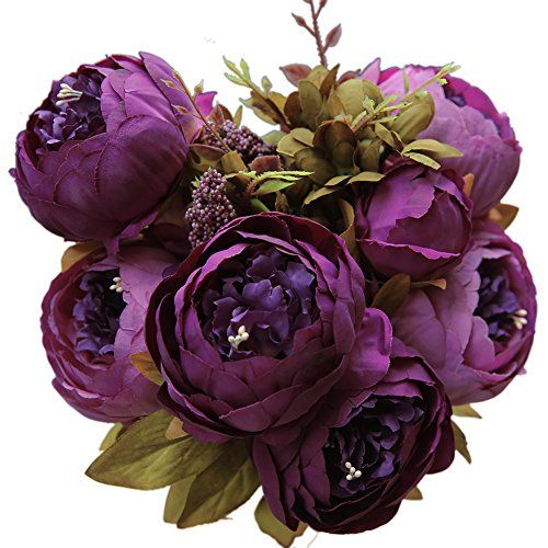 Luyue Vintage Artificial Peony Silk Flowers Bouquet, Purp...