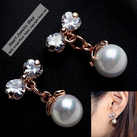 Ра высокое качество женщин мода сладко кубический циркон с бантом - узлы и искусственный жемчуг серьги-гвоздики дешевые ювелирные изделия перлы