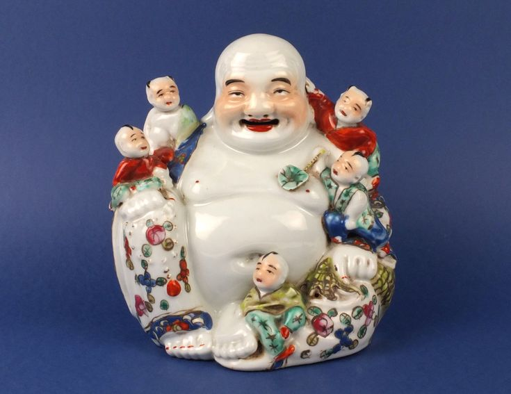 Antique Signed Chinese Porcelain Buddha Figure Statue with Children | eBay.  Color:	 Multi-Color Height:	19cm Age:	1850-1899	Region of Origin:	China Type:	Figurines	Primary Material:	Porcelain & Pottery Original/Reproduction:	Original	Theme:	Buddha Chinese Dynasty:	Qing (1644-1911)	Features:	Antique