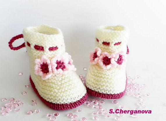 Knitted baby booties knitted baby shoes in by Svetlanababyknitting