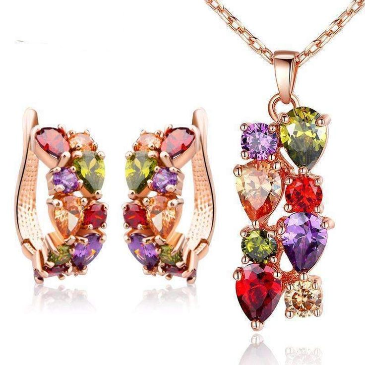 BAMOER Gold Color Gold Unique Jewellery Sets with Multicolor AAA Zircon Stone Women Wedding Jewellery . Free Shipping worldwide.