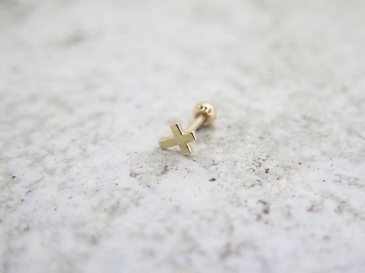 Cross earring/14K solid gold cross piercing/Tragus Earring/Cartilage earring/Tragus Piercing/Cartilage piercing/Earrings/Piercing/Gold cross by MinimalBijoux on Etsy