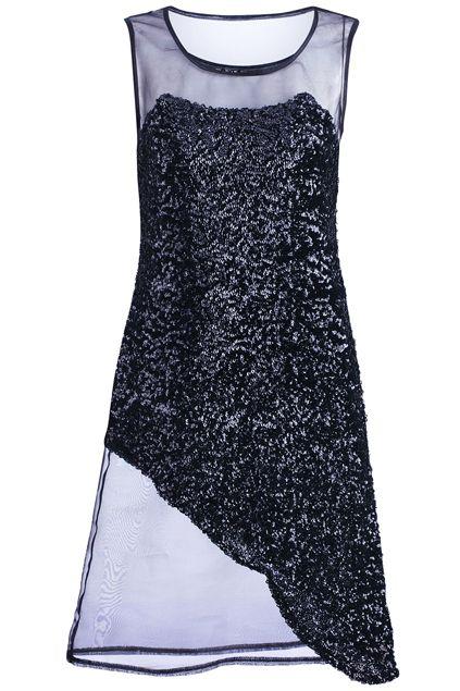ROMWE | Black Sequin Gauze Splicing Dress, The Latest Street Fashion