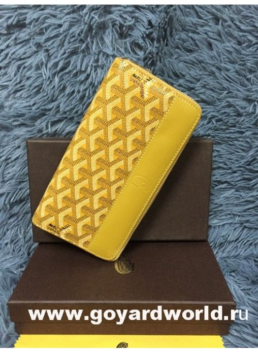 Goyard Matignon Zip Around Long Wallet Yellow