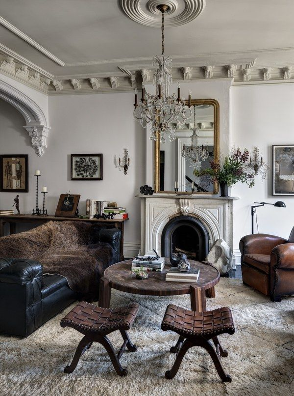 The main parlor of a Brooklyn home designed by Stephen Alesch and Robin Standefer, the husband-and-wife team behind Roman and Williams Buildings and Interiors | archdigest.com