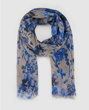 Fular de lino con estampado floral azul