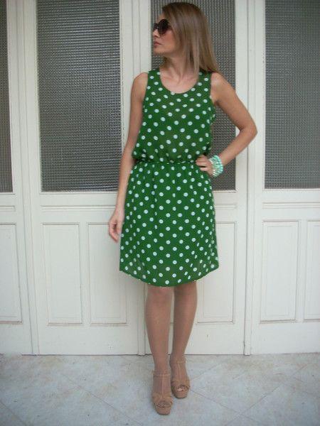 abito+verde+pois+arricciatura+in+vita+di+MelinaECris+su+DaWanda.com