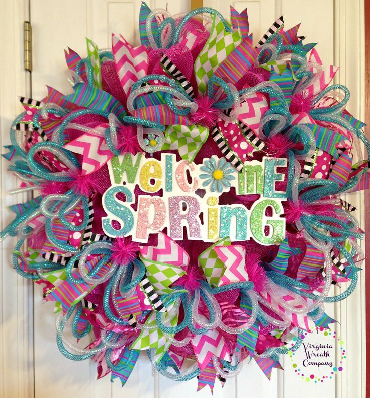 spring deco wreaths | Welcome Spring Deco Mesh Wreath