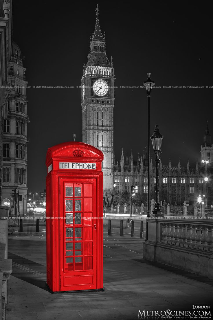 London Big Ben Black and White and Red Telephone Box - MetroScenes.com