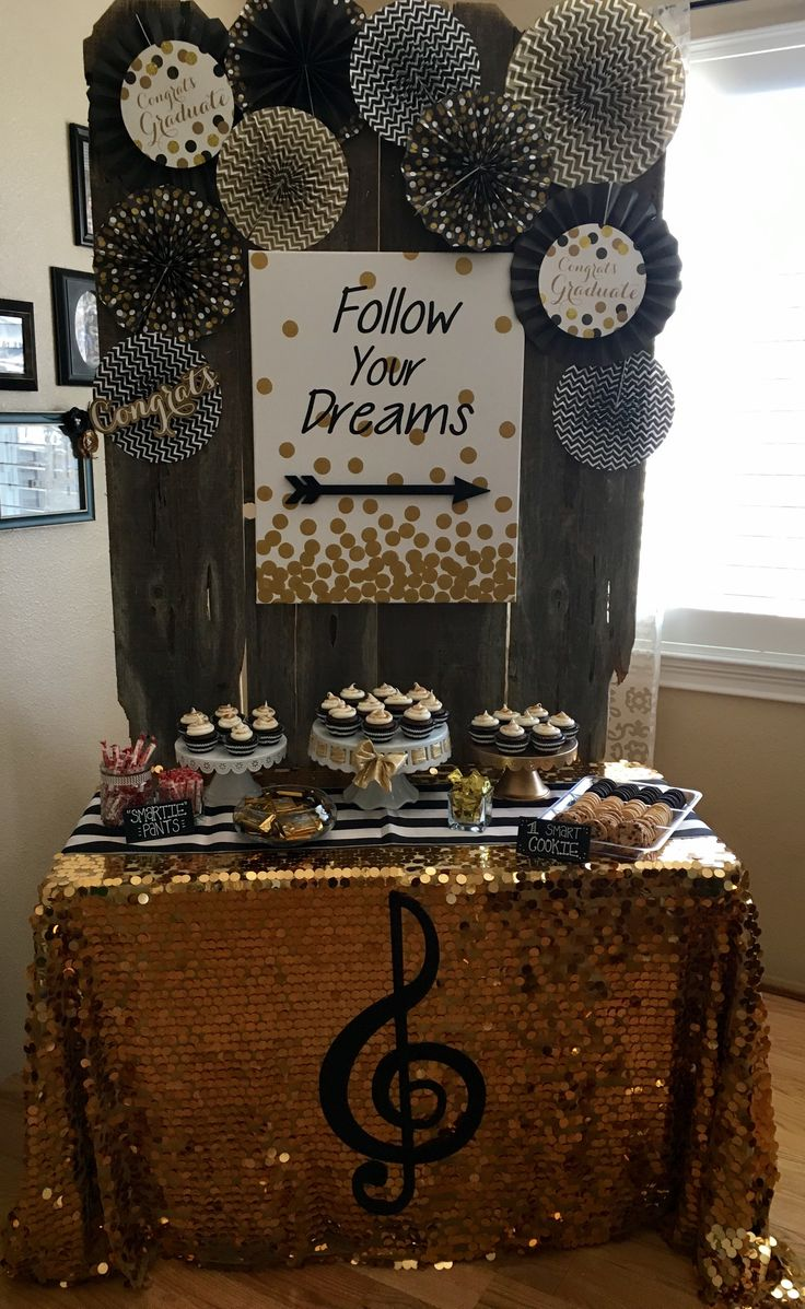 • graduation backdrop • black and gold • graduation party ideas • dessert table • graduation party•