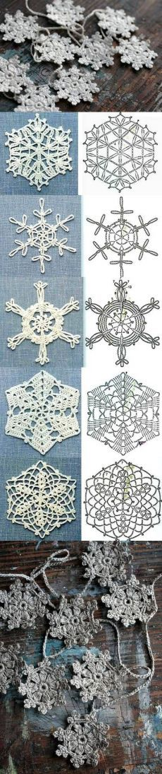 Вязаные снежинки крючком схемы.