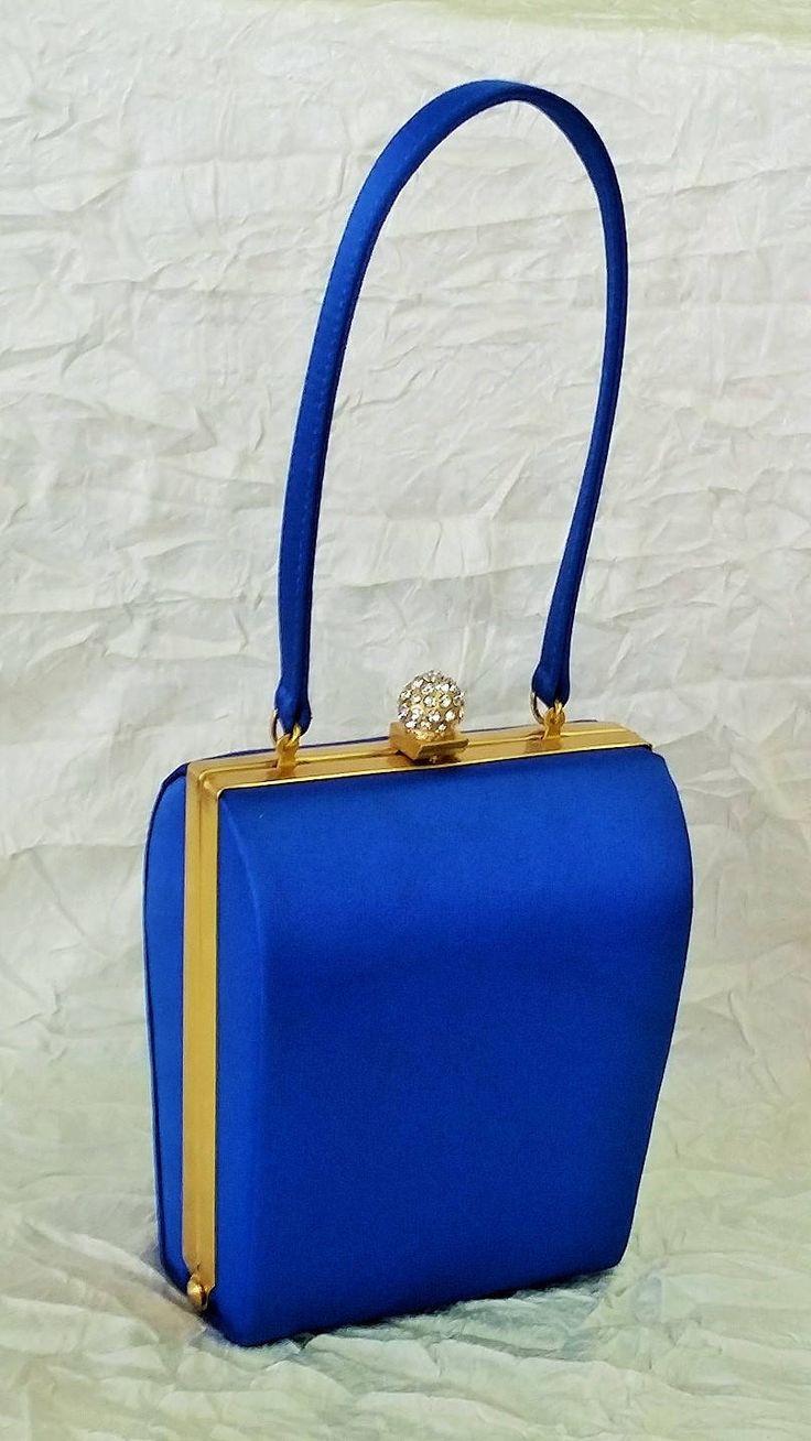 Small Olga Berg Evening Bag, Cobalt Blue, Diamante Clasp, Golden Hardware