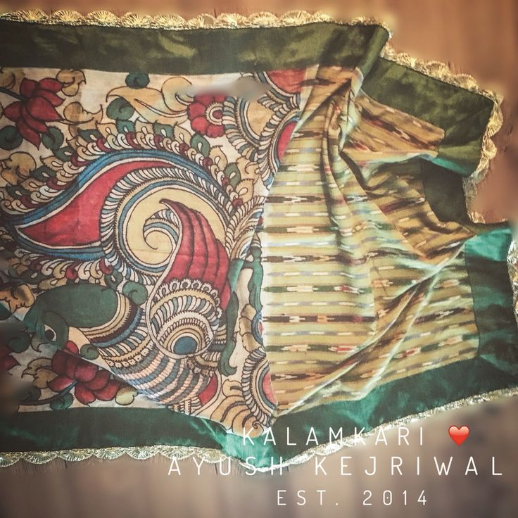 Kalamkari Dupatta by Ayush Kejriwal For purchases email me at designerayushkejriwal@hotmail.com or what's app me on 00447840384707  We ship WORLDWIDE. Instagram - designerayushkejriwal