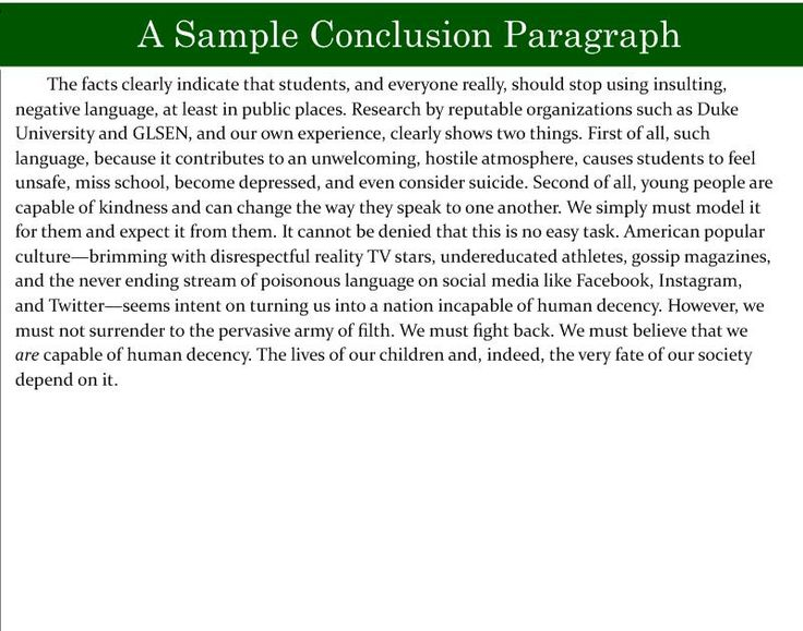 concluding paragraph essay example - Example Of A Conclusion For An Essay
