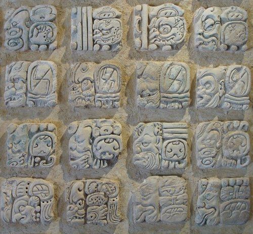 Maya script, also known as Maya glyphs or Maya hieroglyphs, is the writing system of the Maya civilization of Mesoamerica, presently the only Mesoamerican writing system that has been substantially deciphered. The earliest inscriptions found, which are identifiably Maya, date to the 3rd century BC in San Bartolo, Guatemala. Writing was in continuous use until shortly after the arrival of the conquistadors in the 16th century AD.