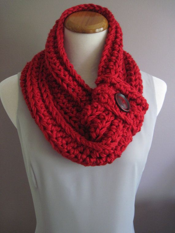 Chunky Bulky Button Crochet Neck Warmer Cowl:  Ruby Red - Silky Soft with Red Button