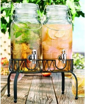 Twin Mason Jar Drink Dispensers traditional-beverage-dispensers