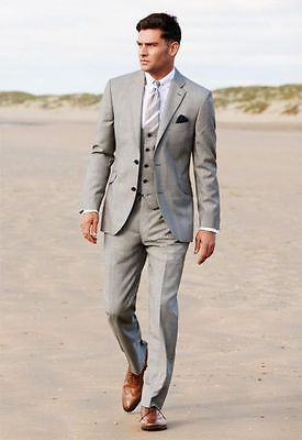 Business 2015 Grey Groom Tuxedos Best Man Slim Formal Wedding Party Evening Suit