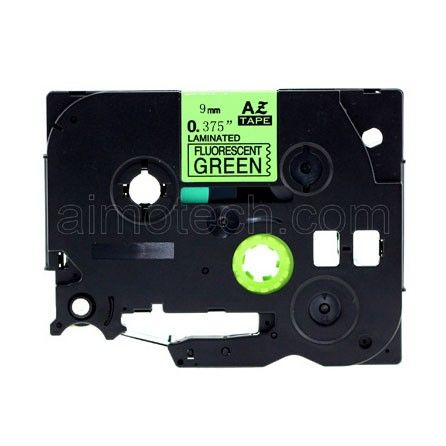 """Brother TZe-D21 9mm (0.375"""")Fluorescent Black on Green Compatible Label Tape"""