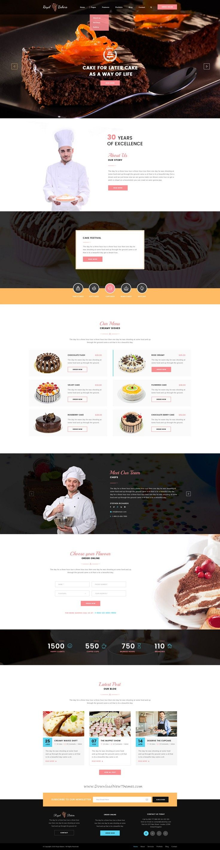Royal Bakers is beautiful Cakery PSD Template download now. #bakery #cake #website