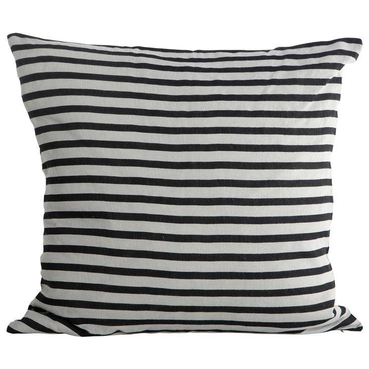 Stripe kuddfodral, svart/grå i gruppen Textil / Plädar & Prydnadskuddar / Prydnadskuddar hos RUM21.se (128009)