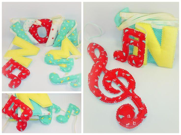 Fabric letters, «ΝΙΚΟΛΑΣ» Υφασμάτινα γράμματα 11cm γιρλάντα διακοσμητικό για παιδικό δωμάτιο.  Υφασμάτινες νότες, κλειδί του σολ διακοσμητικά.