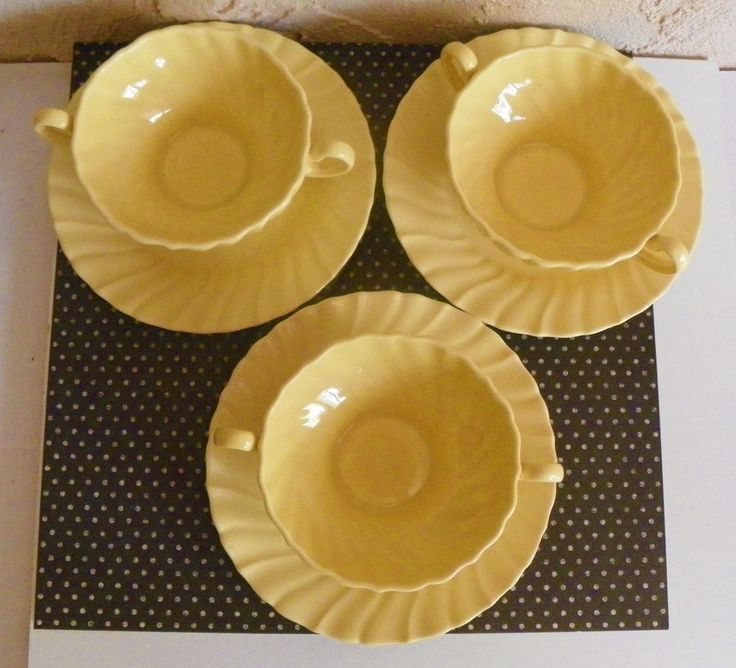 FRANCISCAN WARE CORONADO YELLOW SWIRL 3 DOUBLE HANDLE CUPS SAUCERS CALIFORNIA #Franciscan