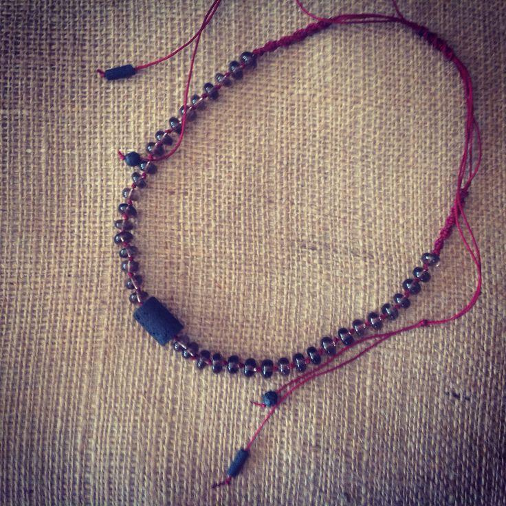 Necklace with smoky quartz and lava!