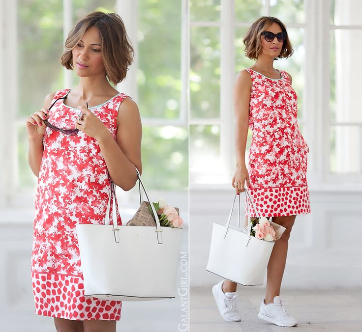 marella dress with sneakers and Kate Spade New York bag by Galantgirl.com