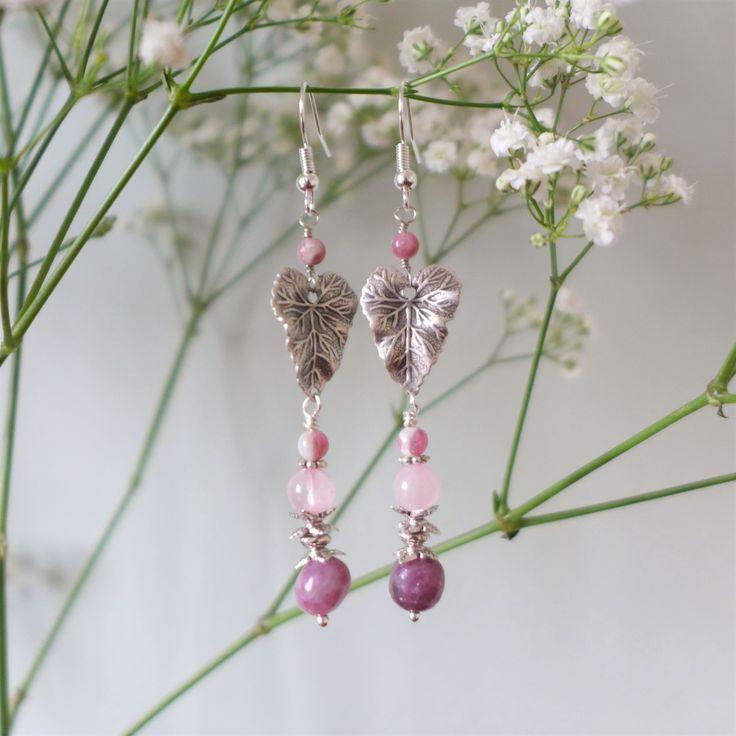 Boucles argentées quartz rose et tourmaline : Boucles d'oreille par verveine-citron