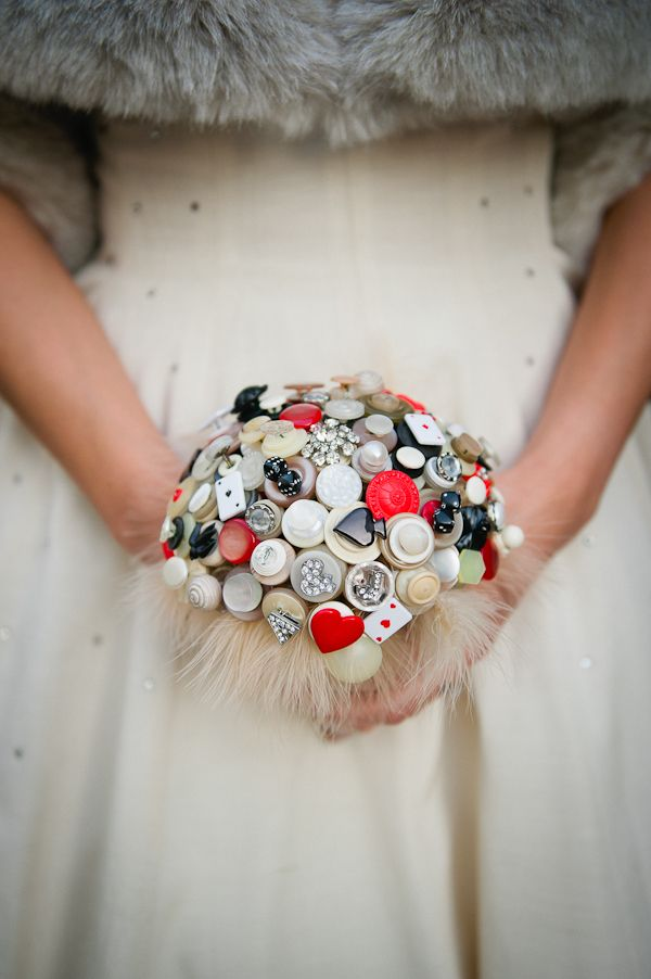 Great idea for a wedding on a shoe string...a button bouquet.