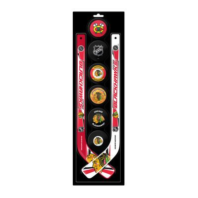Chicago Blackhawks 6-Pack Puck Set with Two Player Mini Sticks
