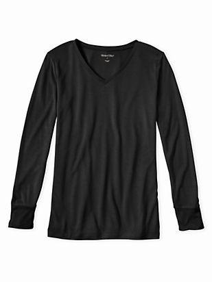 Silk Long Underwear: Ladies' Long Sleeve V-neck Top in Black size Medium