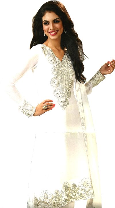 White Georgette A-Shape Suit Highlighted with White Resham work and Zari work along with Chiffon Dupatta. http://goo.gl/Vfx5mn Helpline : +91 9999 028502 / +91 9910 653101 Email : support@dulhan-e-begum.com Photo: Magenta colored Anarkali Embroidered with Golden Zari and Resham Work, Highlighted with Swarovski along with Chiffon Highlighted Embroidered Dupatta. http://goo.gl/ANHmos Helpline : +91 9999 028502 / +91 9910 653101 Email : support@dulhan-e-begum.com