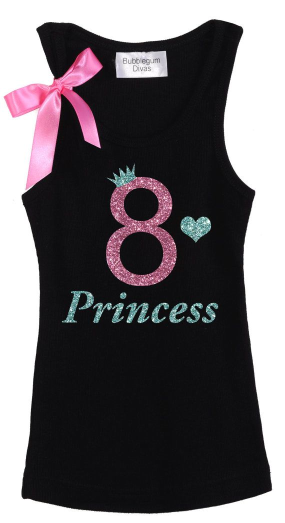 8th Birthday Shirt 8th Birthday Party, Girls Birthday Outfit Pink Sparkle Top…