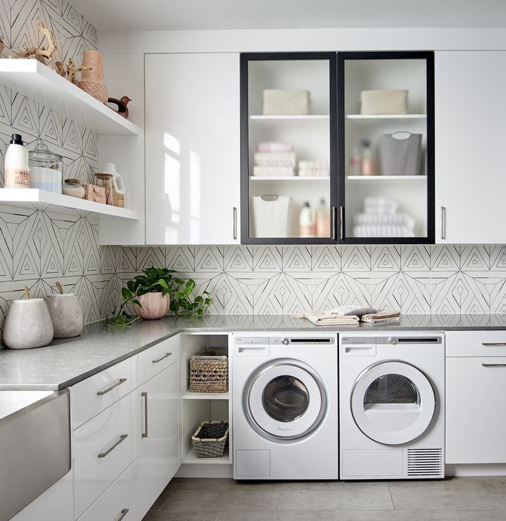 Chic white black laundry with geometric tile white for Matte black kitchen doors