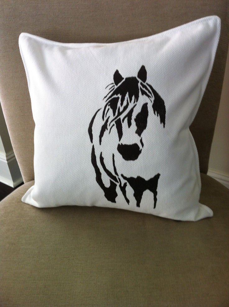 mustang stencil design from my first collection/white with dark brown horse