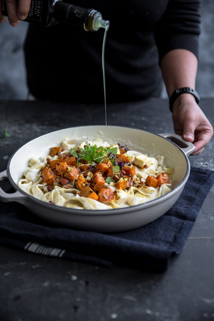 creamy sweet potato & halloumi pasta (w/ pappardelle or similar, cream)