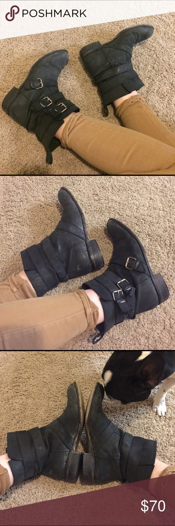 Madewell Black Leather Motorcycle Boots These are my babies! True to size and made in Italy, sold by Madewell. I think these are maybe 7 or 8 years old. They are broken in and SO comfortable. Yes, they have mud on them but I think it gives them character (it can be cleaned off). The bottoms are worn in, and there is some wear to the heel but absolutely no replacing it necessary. I don't wear them enough, but I'm not totally willing to part with them yet! Comment for questions! Madewell Shoes…