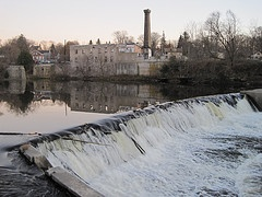 Old factory and dam on the Grand River, Elora Ontario Canada