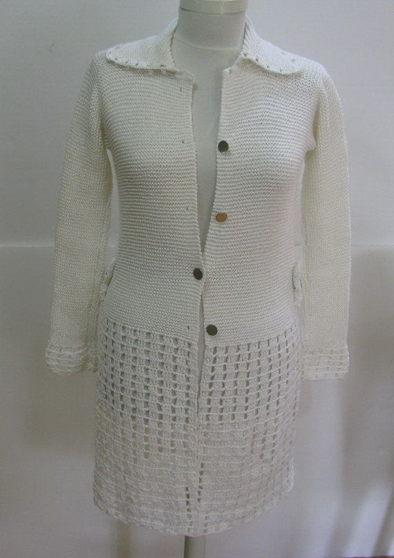 Hand knitted crochet Ecru Cardigan  long sleeve by knittingwomen